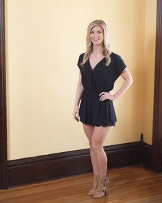 Totally lovin' this Little Black Romper for summertime! V neckline with front snap closure and V-back, elastic waist, and lace trimmed bottom.