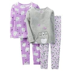 Just One You™ Made by Carter's® Girls' 4-Piece Mix & Match Kitten Pajama Set
