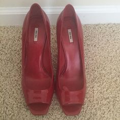 Women's Miu Miu red patent leather pumps 100% authentic Miu Miu pumps, like new condition (only worn once), smoke free home, true to size, no trades Miu Miu Shoes Heels