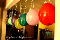 New b-day tradition: dollar bills in balloons! Number of balloons correlates with age. Popping them to collect the cash = fun!