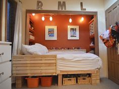 converted closet space, to create a bed nook. This could work too. Two Bedroom House, Bedroom Nook, Kids Bedroom, Bedroom Decor, Guy Bedroom, Bedroom Small, Trendy Bedroom, Bedroom Lighting, Bedroom Themes