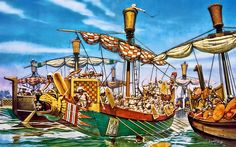 The naval battle with the Sea Peoples c 1190 BC