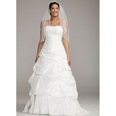 wedding dresses#David's Bridal Wedding Dress: Strapless Taffeta Gown with Beaded Lace Bodice Style 9SAS1224