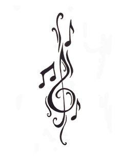 Notenschlüssel als Tattoovorlage-Ideen mit musikalischen Noten