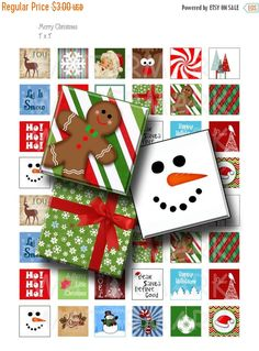 40% Off Sale - Merry Christmas - Digital Collage Sheet  - 1 inch (1 x 1)  - INSTANT DOWNLOAD