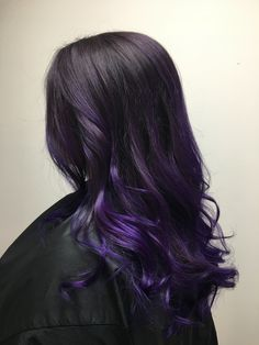 Long and dark with purple melt Purple Hair Streaks, Purple Brown Hair, Dark Purple Hair Color, Purple Hair Highlights, Lavender Hair Colors, Dyed Hair Purple, Long Brown Hair, Hair Dye Colors, Hair Color For Black Hair