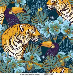 Illustration of Tropical seamless background with exotic flowers and Toucan and Tiger vector art, clipart and stock vectors. Art And Illustration, Illustrations, Art Inspo, Kunst Inspo, Tiger Wallpaper, Nature Wallpaper, Tiger Poster, Jungle Art, Jungle Drawing