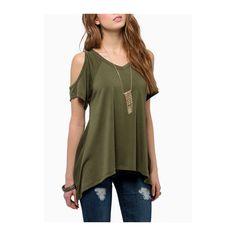 Rotita V Neck Cutout Shoulder Green T Shirt (23 CAD) ❤ liked on Polyvore featuring tops, t-shirts, shirts, outfits, green, v neck t shirts, t shirts, short sleeve tops, short sleeve collared shirts and brown t shirt