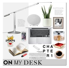 """""""What's on My Desk?"""" by mellapr ❤ liked on Polyvore featuring interior, interiors, interior design, home, home decor, interior decorating, Koncept, Harman, Versace and Apple"""