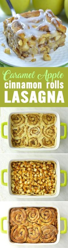 Caramel Apple Cinnamon Roll Lasagna is fun and delicious combo of classic caramel apple pie and yummy cinnamon rolls. This awesome fall treat is delicious dessert, but it is great idea for easy bre…