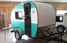 """A """"standy"""" is a term used to describe a tiny camper you can still stand up in. These 5 easily towable trailers all weigh less than lbs. Little Guy Trailers, Small Camper Trailers, Tiny Camper, Small Trailer, Camp Trailers, Camping Trailers For Sale, Small Camping Trailer, Popup Camper, Fiberglass Camper"""