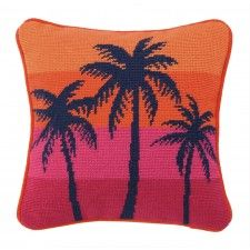 Trina Turk City Inspire Palm Needlepoint Pillow, Orange