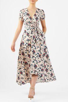 New skirt design fashion floral prints ideas Women's Fashion Dresses, Dress Outfits, Casual Dresses, Fashion 2018, Pretty Dresses, Beautiful Dresses, Dress Skirt, Wrap Dress, Vetement Fashion