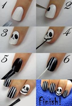 Nightmare Before Christmas Jack Skellington nails for Halloween.fun for Halloween Holiday Nail Designs, Nail Art Designs, Nails Design, Cool Easy Nail Designs, Disney Nail Designs, Henna Designs, Simple Designs, Christmas Nail Art, Holiday Nails