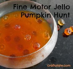This pumpkin hunt activity uses fine motor skills to dig in Jello and locate the pumpkins! Fine Motor Activities For Kids, Creative Activities For Kids, Autumn Activities For Kids, Motor Skills Activities, Fall Preschool, Gross Motor Skills, Toddler Activities, Sensory Activities, Sensory Play