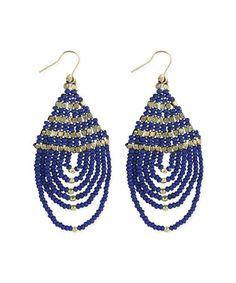 Blue Bead Loop Drop Earrings by ZAD #zulily #zulilyfinds