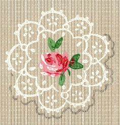 Wings of Whimsy: Seamless Tile Doily & Rose - free for personal use #vintage #edwardian #victorian