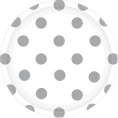 Silver & White Polka Dot Dessert Plates (8) Check out the rest of our patterned and solid Silver Party Supplies