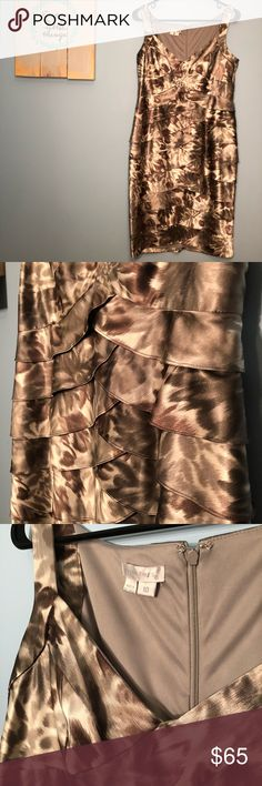 🌻London Times silk ruffle dress 10 Gently worn. In good condition, no flaws or damages. London Times Dresses Midi