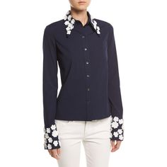 Michael Kors Collection Floral-Appliqu& Poplin Blouse ($1,395) ❤ liked on Polyvore featuring tops, blouses, navy, women's apparel tops, button front blouse, blue floral blouse, michael kors blouses, blue top and navy top