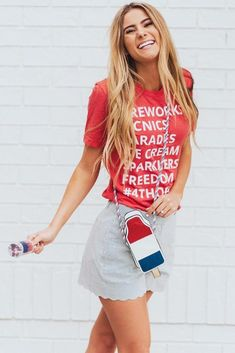Comfy Red White And Blue Outfit Idea #casualoutfit #stripedshorts Find some cute 4th of july outfits ideas for women and for teens here. Put on a boho or casual dress, and this summer beach party will be hot. #4thofjulyoutfit #patrioticoutfit #whiteredblue #outfit Fourth Of July Shirts, 4th Of July Outfits, Outfits For Teens, Summer Outfits, Summer Dresses, July 4th, Rembo Styling, Patriotic Outfit, Stylish Outfits