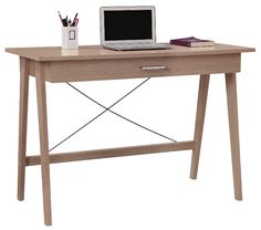 Merlot Single Drawer Desk from OfficeWorks. Dining Room Office, Home Office Desks, Home Office Furniture, Cube Bookcase, My Workspace, Kid Desk, Desk With Drawers, Writing Desk, Apartment Living