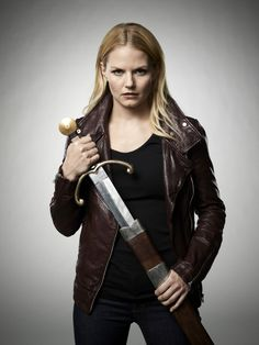 Once Upon a Time Jennifer Morrison as Emma Swan The Savior Drawing Sword Promo 8 x 10 Photo Butt Kicks, Evil Queens, Swan Queen, Emma Swan, Child Models, Trendy Hairstyles, Once Upon A Time, American Actress, White Leather