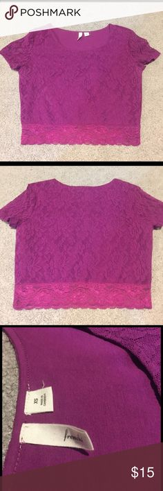 Purple lace crop top Like new purple lace crop top. Cap sleeve is sheer lace while the body has a lining. Worn once and in perfect condition. Purchased at Nordstrom. Accepting all reasonable offers. Tops Crop Tops