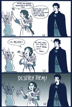 """Little Hades&Persephone comic (inspired by a quote from """"A Stroke of Midnight"""", by Laurell K. Hamilton).  I guess Persephone is the kind of girl who will offer you tea and bake cookies for you and be literally the sweetest person ever, but will..."""