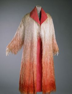 1953 rayon floss and silk chiffon Coat by Elsa Schiaparelli, made in Paris, France. Mme. Schiaparelli gifted the coat to the Philadelphia Museum of Art in 1969.
