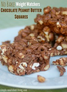 weight watchers no bake chocolate peanut butter squares sweet + delicious! 87 calories, 2 WWPP http://simple-nourished-living.com/2015/09/weight-watchers-chocolate-peanut-butter-squares/
