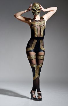 Futuristic Spandex Catsuit, Geometric Leotard, Sexy Holographic Gold, Black & Sheer Jumpsuit, Unique Pop Star Stage Outfit, by LENA QUIST on Etsy, $600.00