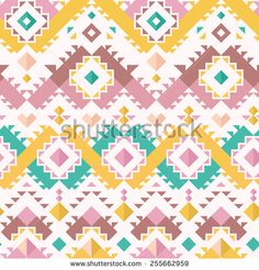 Seamless Ethnic Pattern for Textile Design. Vector Chevron Background - mix of chevrons, squares and colorful triangles.