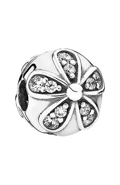 Women's PANDORA 'Dazzling Daisies' Clip Charm - Silver/ Clear