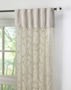 "This is a unique way to show off lace curtains.  The top fabric can be an off white such as this, a different color lace, a print fabric or can be a solid color brought in from accents in the room.  The pleating is called ""Ripple Fold"" and I believe is available from Kirsch Hardware or you can accomplish a similar look with grommets."