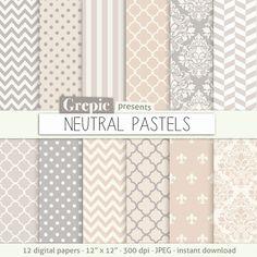 "Beige grey digital paper: ""NEUTRAL PASTELS"" cream beige brown grey earth tones w/ classical chevron, polkadots, stripes, damask, quatrefoil #clipart #grepic"
