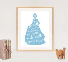 Disney princess nursery wall art - Cinderella silhouette poster - princess wall art decor - INSTANT DOWNLOAD