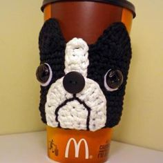 Boston Terrier Coffee Cozy Crochet Pattern-gift from snooze and gus to everyone at Christmas?