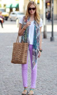Lilac jeans, boho scarf, aqua sandals, leather brown bag