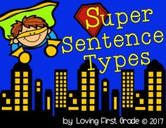 Sentence types posters, pocket chart sort, cut and glue activity, and interactive notebook entry sheet. Declarative sentences, interrogative sentences, exclamatory sentences, imperative sentences for first grade. s