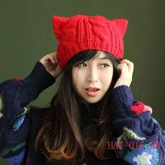 New Fashion Women Horns Cat Ear Crochet Braided Knit Ski Beanie Wool Hat Cap On Sale, Lastest Hats collections for ladies! Crochet Beret, Crochet Braids, Winter Typ, Popular Crochet, Knitted Cat, Cat Hat, Knitting Wool, Cute Korean, Red Hats