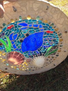 Mosaic stained glass crab