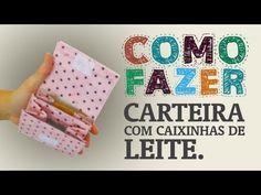 ▶ Como fazer uma carteira com uma caixinha de leite - YouTube - how to make a coin purse with in a milk box