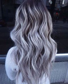 Details about European Real Human Hair Wigs Long Ombre Grey Lace Front Wig Full Lace Wigs - Beauty - Accesorios para Cabello Grey Ombre Hair, Silver Grey Hair, Gray Purple Hair, Silver Lavender Hair, Lilac Hair, Hair Color Balayage, Haircolor, Human Hair Wigs, Hair Looks