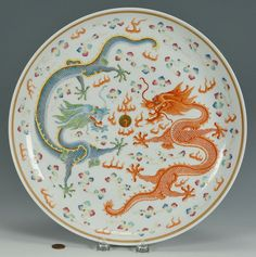 Chinese Famille Rose Porcelain Dragon Charger