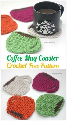 Crochet Projects Patterns Crochet Coffee Mug Coaster Free Pattern - Crochet Coasters Free Patterns - Crochet Coasters Free Patterns and Instructions: Collection of easy crochet coasters, flower coaster, animal coaster, coaster applique / motif design Crochet Gratis, Crochet Diy, Crochet Home, Crochet Doilies, Crochet Potholders, Crochet Ideas, Diy Crochet Projects, Crochet Geek, Form Crochet