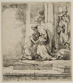 Rembrandt (1606–1669), Return of the Prodigal Son, 1636,  Etching | Harvard Art Museums