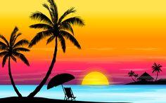 silhouette beach canvas painting   ベクトル夏のビーチ More