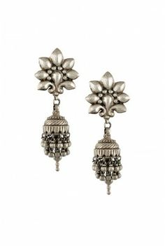 silver peacock jhumkis by Amrapali
