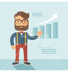 Business presentation vector hipster graph by RAStudio on VectorStock® Flat Design Illustration, Business Presentation, Infographic Templates, Vector Art, Hipster, Concept, Image, Fictional Characters, Hipsters